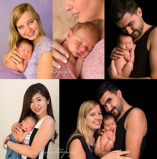 Een mooie newborn pose voor de baby met Mama of Papa